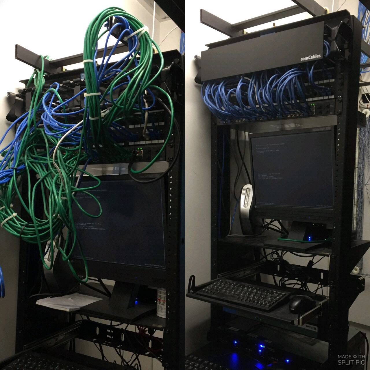 Cat 5e cabling installation clean up before and after pictures