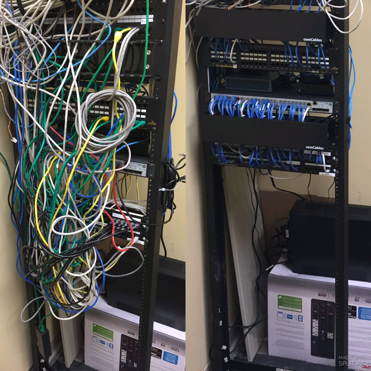 Running cat 5 cable before and after pictures