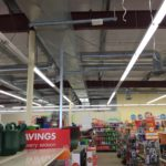 Network cable installation in a retail store for internet connection